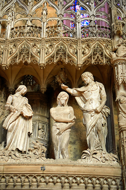 16th century flamboyant gothic Choir screen and ambulatory of the Cathedral of Chartres, France. A UNESCO World Heritage Site. Depicting Christ being baptised by John The Baptist.