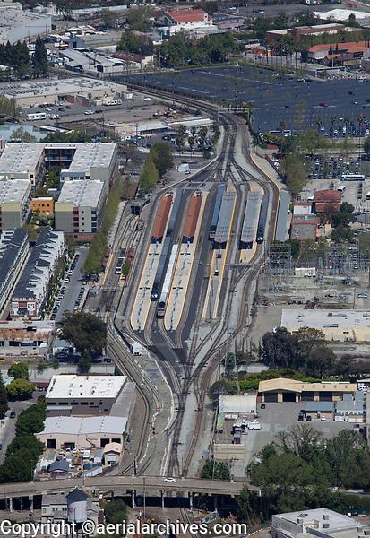 aerial photograph Santa Clara Light Rail Station, San Jose, Santa Clara, California