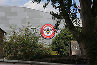 General view of Brentford Community Stadium which will be home to Brentford FC in the near future. London Irish RFU will also be playing at the new Stadium sometime in the future. The Club Badge on the side of the building can be seen from Kew Bridge Road during Brentford vs Barnsley, Sky Bet EFL Championship Football at Griffin Park on 22nd July 2020