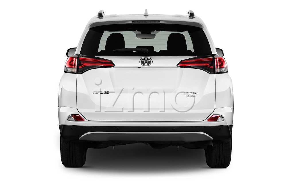 Straight rear view of 2016 Toyota RAV4 Limited 4x4 Door Suv Rear View  stock images