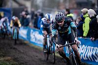 strong racing by local rider Wietse Bosmans (BEL/isorex)<br /> <br /> Azencross Loenhout 2019 (BEL)<br />  <br /> ©kramon