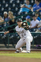 Fort Wayne TinCaps first baseman Ty France (25) stretches for a throw against the West Michigan Whitecaps on May 23, 2016 at Parkview Field in Fort Wayne, Indiana. The TinCaps defeated the Whitecaps 3-0. (Andrew Woolley/Four Seam Images)