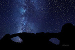 North and South Windows with Milky Way, Arches National Park, Utah