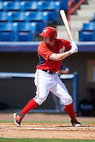Washington Nationals Andrew Stevenson (4) during an Instructional League game against the Atlanta Braves on September 30, 2016 at Space Coast Stadium in Melbourne, Florida.  (Mike Janes/Four Seam Images)