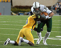 USF wide receiver T.J. Knowles.  The West Virginia Mountaineers defeated the South Florida Bulls 20-6 on October 14, 2010 at Mountaineer Field, Morgantown, West Virginia.