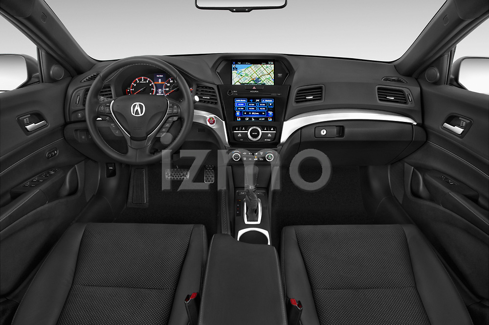 Stock photo of straight dashboard view of 2018 Acura ilx Tech Plus A Spec 4 Door Sedan