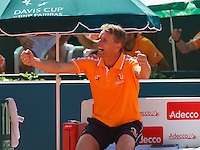 Austria, Kitzbühel, Juli 17, 2015, Tennis, Davis Cup, First round match between Dominic Thiem (AUT) vs Thiemo de Bakker (NED)  pictured: Dutch Captain Jan Siemerink reacts when Thiemo de Bakker wins the third set<br /> Photo: Tennisimages/Henk Koster