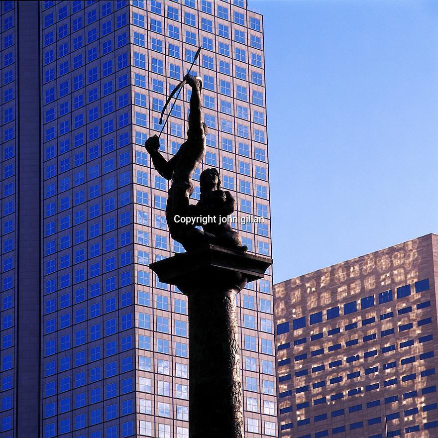 Statue located on the Miami River bridge downtown Miami.