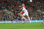 Sam Vokes headers the ball for Wales during the Wales v Norway Vauxhall international friendly match at the Cardiff City Stadium in South Wales..Editorial use only.