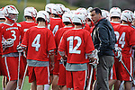 Baltimore, MD - March 3:  Stags team plans over time play during the Fairfield v UMBC mens lacrosse game at UMBC Stadium on March 3, 2012 in Baltimore, MD.