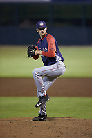 Hagerstown Suns relief pitcher Chandler Day (19) in action against the Kannapolis Intimidators at Kannapolis Intimidators Stadium on August 27, 2019 in Kannapolis, North Carolina. The Intimidators defeated the Suns 5-4. (Brian Westerholt/Four Seam Images)