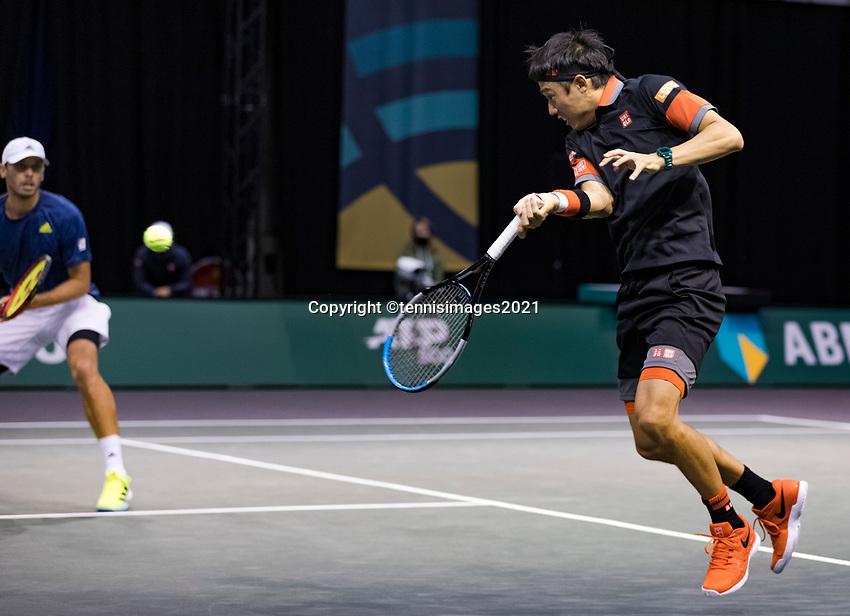 Rotterdam, The Netherlands, 2 march  2021, ABNAMRO World Tennis Tournament, Ahoy, First round doubles: Ben Mclachlan (JPN) / Kei Nishikori (JPN).<br /> Photo: www.tennisimages.com/henkkoster