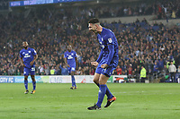 Sean Morrison of Cardiff City celebrates scoring his sides third goal of the match during the Sky Bet Championship match between Cardiff City and Leeds United at The Cardiff City Stadium, Cardiff, Wales, UK. Tuesday 26 September 2017