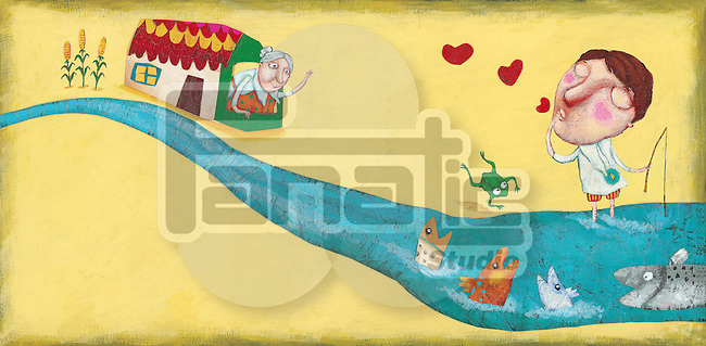 Illustration of boy spending vacation with grandmother at village
