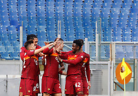 Roma's Gianluca Mancini, center, celebrates with his teammates,after scoring during the Italian Serie A Football match between Roma and Genoa at Rome's Olympic stadium, March 7, 2021.<br /> UPDATE IMAGES PRESS/Riccardo De Luca