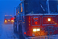 Fire engine in a winter snow storm.