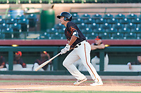 AZL Giants Orange designated hitter Sean Roby (5) starts down the first base line during an Arizona League game against the AZL Rangers at Scottsdale Stadium on August 4, 2018 in Scottsdale, Arizona. The AZL Giants Black defeated the AZL Rangers by a score of 3-2 in the first game of a doubleheader. (Zachary Lucy/Four Seam Images)