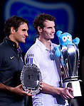 SHANGHAI, CHINA - OCTOBER 17:  Andy Murray (R) of Great Britain and Roger Federer of Switzerland pose for photographers with trophies after their singles final match during day seven of the 2010 Shanghai Rolex Masters at the Shanghai Qi Zhong Tennis Center on October 17, 2010 in Shanghai, China.  (Photo by Victor Fraile/The Power of Sport Images) *** Local Caption *** Andy Murray; Roger Federer