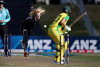 4th April 2021; Bay Oval, Taurange, New Zealand;  White Ferns Hannah Rowe bowls to Australia's Alyssa Healy (R during the 1st women's ODI White Ferns versus Australia Rose Bowl cricket match at Bay Oval in Tauranga.