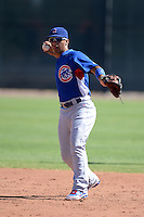 Chicago Cubs shortstop Gleyber Torres (4) during an Instructional League game against the Arizona Diamondbacks on October 5, 2013 at Salt River Fields at Talking Stick in Scottsdale, Arizona.  (Mike Janes/Four Seam Images)