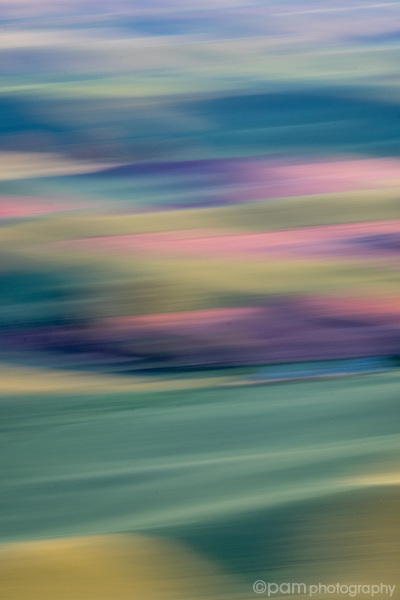 Colorful pink green and blue vertical abstract of Palouse farm country