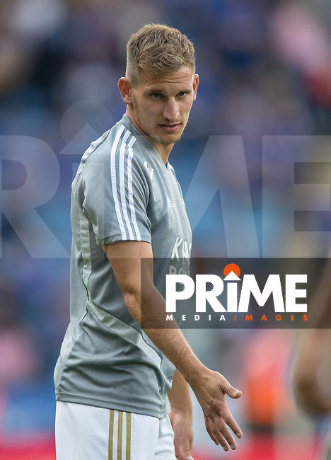 Marc Albrighton of Leicester City pre match during the Premier League match between Leicester City and Wolverhampton Wanderers at the King Power Stadium, Leicester, England on 10 August 2019. Photo by Andy Rowland.<br /> .<br /> Editorial use only, license required for commercial use. No use in betting,<br /> games or a single club/league/player publications.'