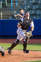 Hudson Valley Renegades catcher Mac James (9) chases after a foul pop fly during the game against the Brooklyn Cyclones at Dutchess Stadium on June 18, 2014 in Wappingers Falls, New York.  The Cyclones defeated the Renegades 4-3 in 10 innings.  (Brian Westerholt/Four Seam Images)