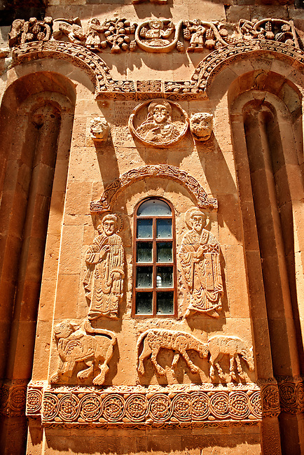 Bas Releif sculptures with scenes from the Bible on the outside of the 10th century Armenian Orthodox Cathedral of the Holy Cross on Akdamar Island, Lake Van Turkey 28