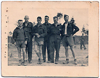BNPS.co.uk (01202 558833)<br /> Pic: BNPS<br /> <br /> PICTURED: Leslie Broderick (2nd right) with fellow PoWs at Stalag Luft III in WW2.  <br /> <br /> Medals of a war hero who played a key role in the 'Great Escape' are being sold for the first time.<br /> <br /> Leslie Broderick was one of those who famously escaped and spent three days on the run before a German farmer turned him in.<br /> <br /> F/Lt Broderick was returned to Stalag Luft III and spent three weeks in isolation. <br />  <br /> 50 other escapees wwere executed by the Gestapo on the orders of Adolf Hitler.