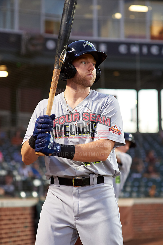 Peoria Javelinas Owen Miller (14), of the San Diego Padres organization, on deck during an Arizona Fall League game against the Mesa Solar Sox on September 21, 2019 at Sloan Park in Mesa, Arizona. Mesa defeated Peoria 4-1. (Zachary Lucy/Four Seam Images)