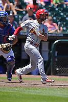Memphis Redbirds Dean Anna (11) swings during the Pacific Coast League game against the Iowa Cubs at Principal Park on June 7, 2016 in Des Moines, Iowa.  Iowa won 6-5.  (Dennis Hubbard/Four Seam Images)