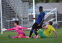 Joao Moreira shoots for goal during the Central League football match between Miramar Rangers and Lower Hutt AFC at David Farrington Park in Wellington, New Zealand on Saturday, 10 April 2021. Photo: Dave Lintott / lintottphoto.co.nz
