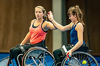 Alphen aan den Rijn, Netherlands, December 18, 2019, TV Nieuwe Sloot,  NK Tennis, Wheelchair doubles: Jinte Bos (NED) and Lizzy de Greef (NED) (L)<br /> Photo: www.tennisimages.com/Henk Koster