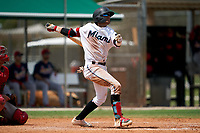GCL Marlins Victor Mesa Jr. (9) at bat during a Gulf Coast League game against the GCL Cardinals on August 12, 2019 at the Roger Dean Chevrolet Stadium Complex in Jupiter, Florida.  GCL Marlins defeated the GCL Cardinals 9-2.  (Mike Janes/Four Seam Images)