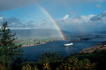 Columbia River, rainbow, Puget Island. View upstream from the Oregon side to a farmland island near Cathlamet on the Washington side of the river. .
