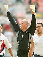 Brad Friedel celebrates after helping defeat Mexico 2-0, in the second round of the World Cup in Jeonju, Soth Korea, Monday June 17, 2002. Images provided in partnership with International Sports Images. (Please credit: John Todd/Int'l Sports Images/DSA)