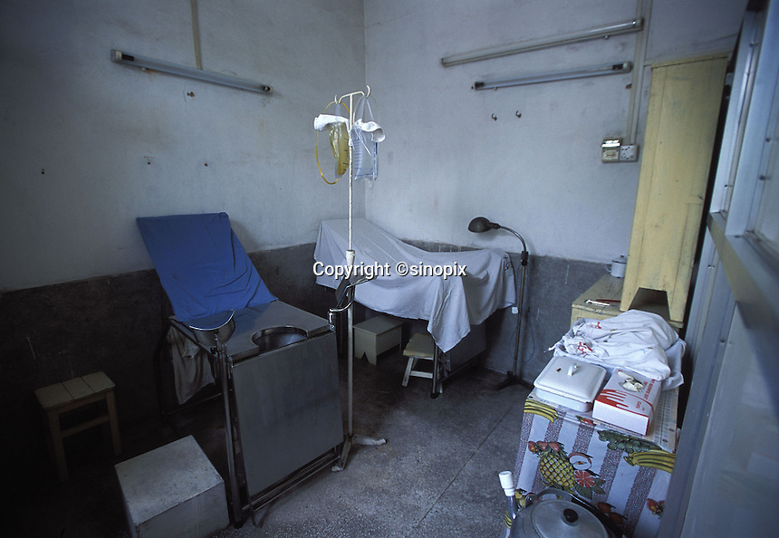 """The abortion chair of a country clinic in Guangdong Province, south China.  Forced abortions are commonly carried out by the Birth Control Unit on women that go """"over quota"""" or break the law strict Birth Control laws in China.  Recently riots broke out and five officials were killed in Bobai country in south China after forced abortions and fines were levied on the hapless population.<br /> ©sinopix"""