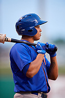 Midland RockHounds second baseman Yairo Munoz (10) on deck during a game against the Arkansas Travelers on May 25, 2017 at Dickey-Stephens Park in Little Rock, Arkansas.  Midland defeated Arkansas 8-1.  (Mike Janes/Four Seam Images)