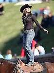 A Southern Methodist Mustangs horse riding fan watches the action during the game between the Memphis Tigers and the Southern Methodist Mustangs at the Gerald J. Ford Stadium in Dallas, Texas. SMU defeats Memphis 44 to 13.