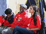 DION SANDERS and girlfriend,TRACEY EDMONDS, come out and watch the Prime Prep Academy Basketball team from Prime Prep Academy, the charter school Dion Sanders helped co-found, at the 2014 Metroplex Challenge at South Grand Prairie High School in Grand Prairie, Texas.