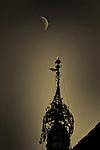 Temple and moon, Bagan, Burma