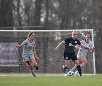 LOUISVILLE, KY - MARCH 13: Freja Olofsson #8 of Racing Louisville FC drives the ball up the field during a game between West Virginia University and Racing Louisville FC at Thurman Hutchins Park on March 13, 2021 in Louisville, Kentucky.