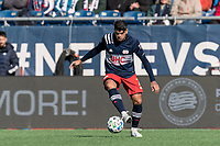 FOXBOROUGH, MA - MARCH 7: Gustavo Bou #7 of New England Revolution controls the ball during a game between Chicago Fire and New England Revolution at Gillette Stadium on March 7, 2020 in Foxborough, Massachusetts.