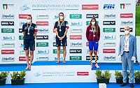 ( L to R) ZOFKOVA Carlotta silver, PANZIERA Margherita gold, CENCI Martina bronze, Frongia awards medals<br /> 200 Backstroke Women Podium<br /> Roma 13/08/2020 Foro Italico <br /> FIN 57 LVII Trofeo Sette Colli - Campionati Assoluti 2020 Internazionali d'Italia<br /> Photo Giorgio Scala/DBM/Insidefoto