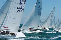 A fleet start in the Etchel class sailing