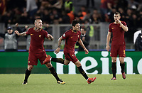 Football Soccer: UEFA Champions League AS Roma vs Chelsea Stadio Olimpico Rome, Italy, October 31, 2017. <br /> Roma's Diego Perotti (c) celebrates with his teammates Radja Nainggolan (l) and Edin Dzeko (r) after scoring during the Uefa Champions League football soccer match between AS Roma and Chelsea at Rome's Olympic stadium, October 31, 2017.<br /> UPDATE IMAGES PRESS/Isabella Bonotto