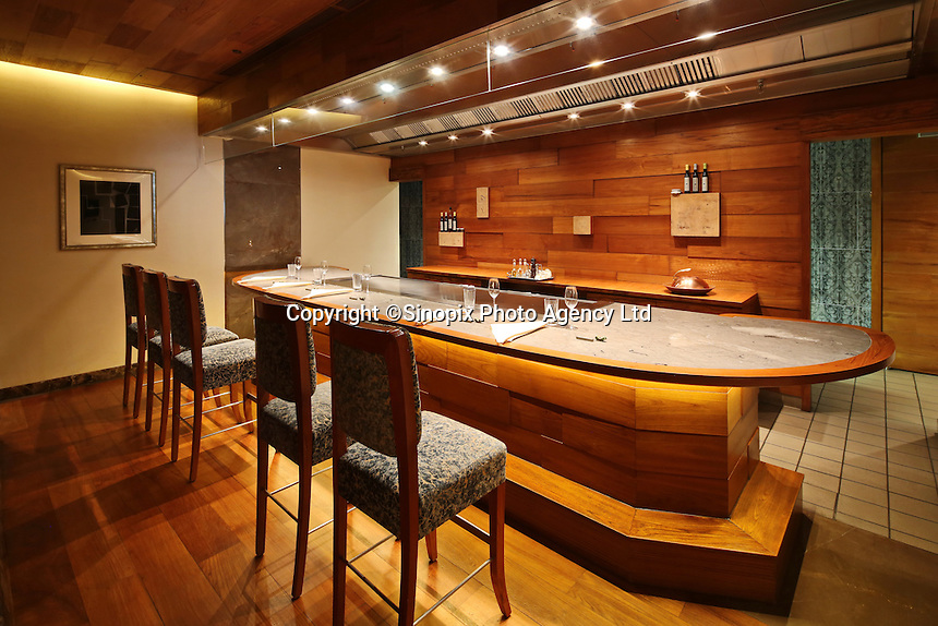Drawing room at Waku Ghin Restaurant at Marina Bay,  in Singapore 13 March 2015.