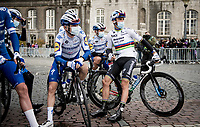 fresh 2020 World Champion Julian Alaphilippe (FRA/Deceuninck-QuickStep) in his very first race in the Rainbow Jersey<br /> <br /> 106th Liège-Bastogne-Liège 2020 (1.UWT)<br /> 1 day race from Liège to Liège (257km)<br /> <br /> ©kramon