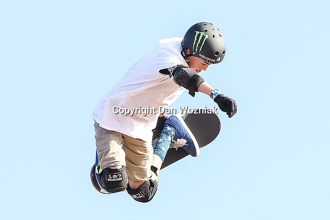 Skateboard Big Air athletes in action during the summer X-Games at the Circuit of the Americas race track in Austin, Texas.