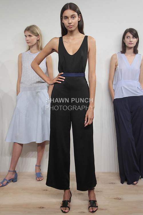 Model poses in an outfit from the O'2nd Spring Summer 2016 collection, during New York Fashion Week Spring 2016.